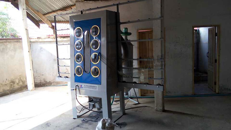 Manual glass sandblasting machine at Vietnam customer's factory
